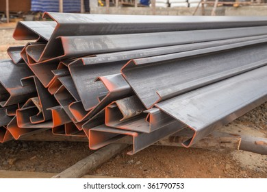 Steel channel (steel C chanel) at construction site