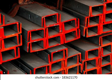 Steel channels bunch in warehouse before shipment