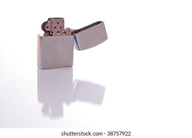 Steel cigarette lighter isolated on white background