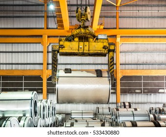 Steel coil handling inside warehouse