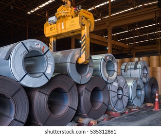 Steel coil handling inside warehouse