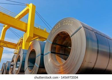 Steel coil transportation at port