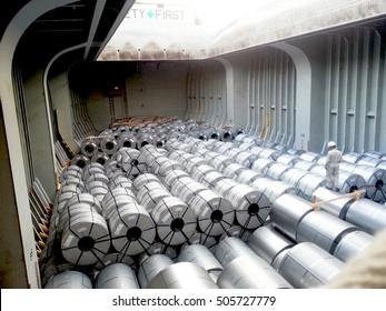 Steel coil in vessel