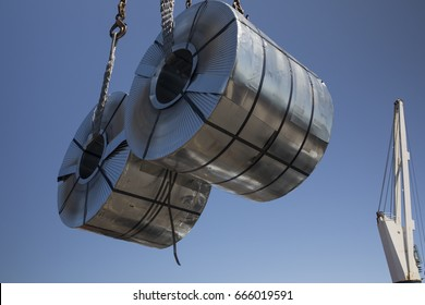 Steel coils in the air