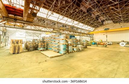 Steel coils warehouse.