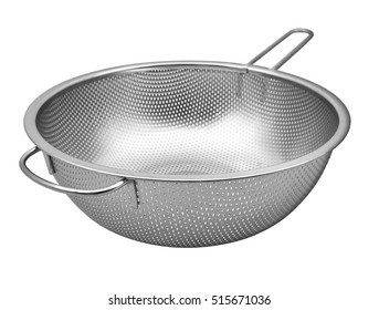 Steel colander  with handle  isolated on white background
