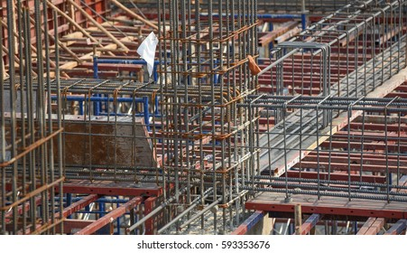 steel column and beam in construction site ,Steel reinforced concrete