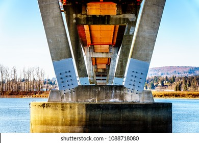 Steel and Concrete structure of Mission Bridge over the Fraser River on Highway 11 between Abbotsford and Mission in British Columbia, Canada