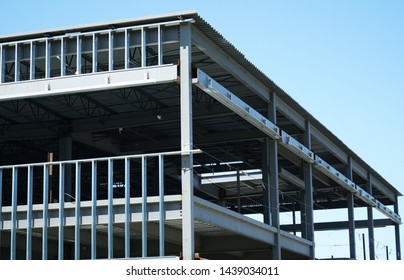 steel construction frame of commercial building