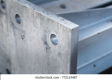 Steel construction with holes for big bolts.