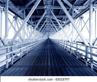steel construction from under the bridge.