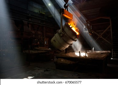 Steel converter filler material. metallurgy, metal industry, metallurgical industry, metal production. Melting metal, steel