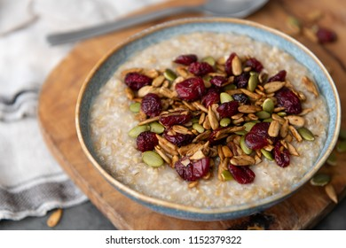 Steel Cut Oats Served with Dried Berries and Seeds