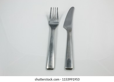 Steel cutlery with knife and fork