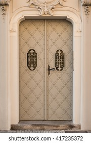 Steel Door with Patterns in a Stone Entry, Prague, The Czech Republic