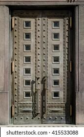 Steel Door in a Stone Entry, Prague, The Czech Republic