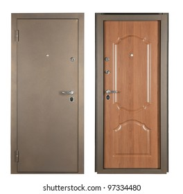 Steel doors lined with white oak on white background