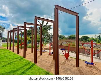 Steel doors in Park, Steel window in the park, Steel doors and blue sky,Steel window in the playground,Iron gate sculpture in the park