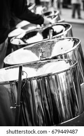 Steel drum players at a street festival.