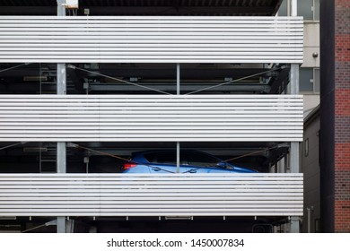 Steel exterior wall of  car parking