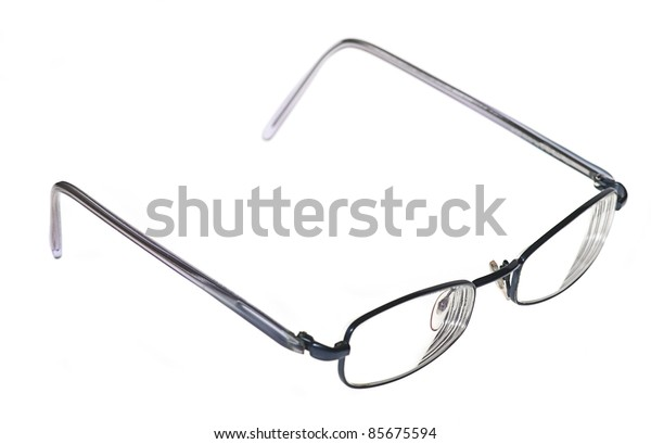 steel eyeglasses isolated on a white background