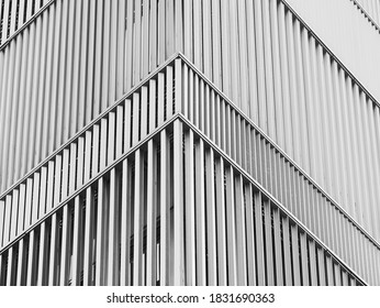 Muster der Stahlfassade Moderne Gebäudeecke Architektur Details Hintergrund