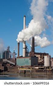 Steel factory with big chimneys in IJmuiden, the Netherlands