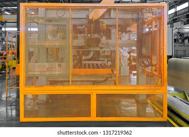 Steel fence safety guard protection, machine in factory