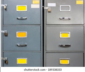 Steel filing cabinet for privacy data in the office.