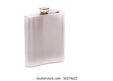 Steel flask on a white background
