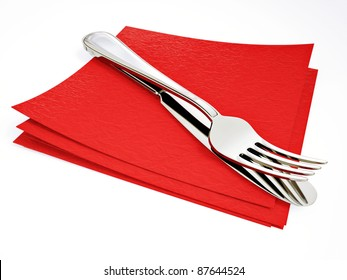 steel fork and knife on a red  napkin