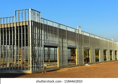 Steel frame commercial building under construction.