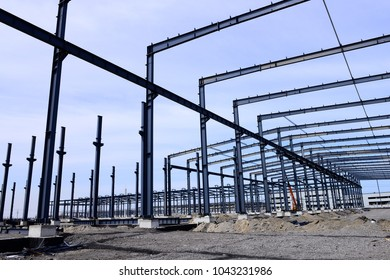 Steel frame construction plant under construction
