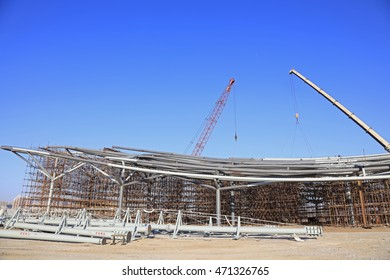 Steel frame in the construction site