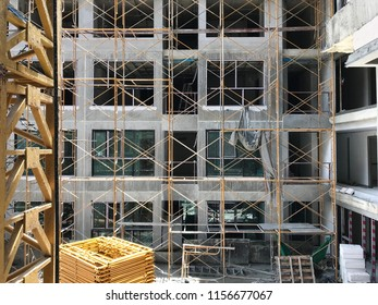 Steel frame for exterior building Construction of many steel and covered with safety in construction condominium