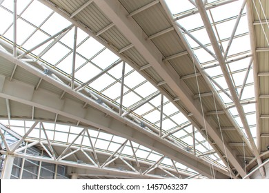 Steel frame structure. transparent roof structure made of metal. modern building roof