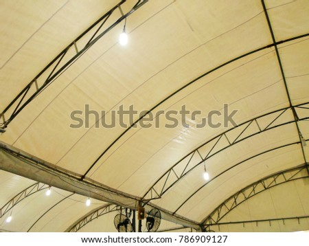 Steel frame tents Background. Inside Big Canvas Tent with hanging electric fans and wire. & Steel Frame Tents Background Inside Big Stock Photo (Edit Now ...