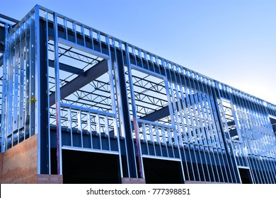 Steel frame work of new commercial building.