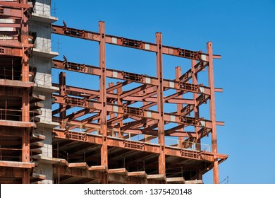 Steel Frames Of A Skycraper Construction