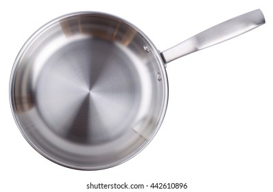 Steel frying pan isolated on white background. Top view