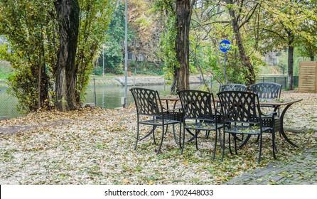 Steel furniture in a local restaurant in Timisoara Park, Romania
