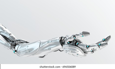 Steel futuristic arm, type of bionic arm with similar functions to a human arm, 3d rendering