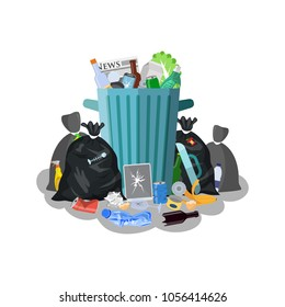 Steel garbage bin full of trash. Overflowing garbage, food, rotten fruit, papers,containers and glass. Garbage recycling and utilization equipment. illustration in flat style Raster version.