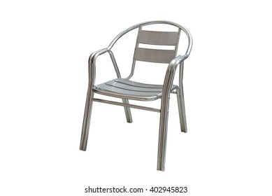 Steel garden chair isolated on white background