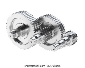 Steel gear wheels technical mechanical illustration. Isolated on white background