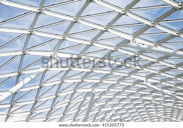 Steel Glass Roof Wall Construction Transparent Stock Photo