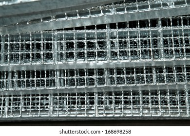 Steel grating bunch in warehouse