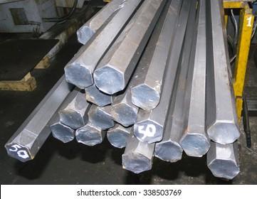 steel hexagon bars in factory warehouse
