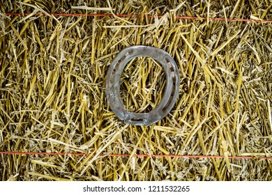 A steel horseshoe on straw welded into the letter O
