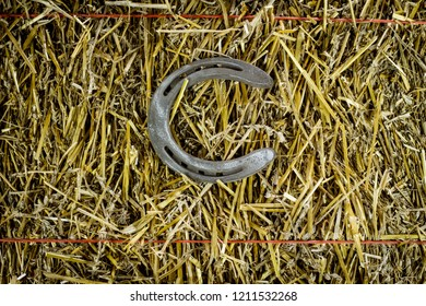 A steel horseshoe on straw welded into the letter C